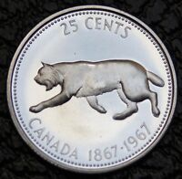 1967 GEM - LYNX Cat 25 Cent Quarter - Beautiful Silver Coin - High Grade