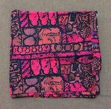 """VTG Brushed Silk Scarf 38"""" XL Burgundy Aubergine Pink Abstract Print Hand Rolled"""