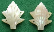 2 Large Vintage CREAMY WHITE Mother of Pearl Carved LEAF Shaped BUTTONS / SEQUIN