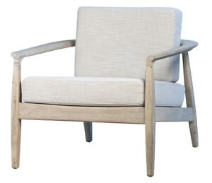 """31"""" W Maria Occasional Chair Modern Whitewashed Solid Oak Frame Cotton Cushions"""