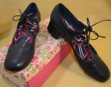 1960's Womens Miss America Dk Blue Navy T-Strap Lace-up Strappy Shoes 7.5N +Box