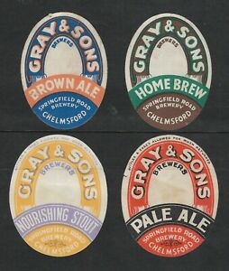 .FOUR VINTAGE BEER LABELS - GRAY & SONS, SPRINGFIELD ROAD BREWERY, CHELMSFORD.