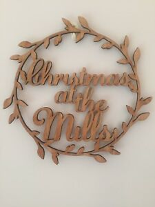 """LARGE Laser Cut PERSONALISED """"Christmas At The..."""" wreath style Sign Birch wood"""