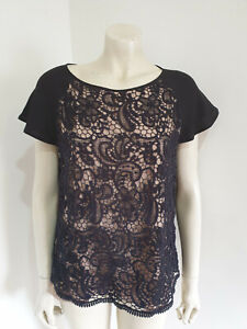 Grace Hill Black Lace Short Sleeve Evening Blouse Size 14