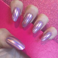 Full Cover Hand Painted False Nails. Oval Holographic Pink Nails. 24 Nails.
