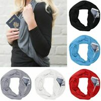 Convertible Infinity-Scarf With Pocket Loop Scarf Women Winter Zipper Pocket NEW