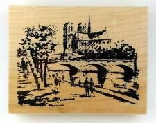 PARIS RIVER WALK Bridge over the Seine NOTRE DAME by B Line Designs Stamp NEW