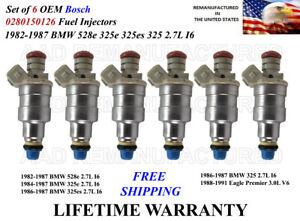 OEM Set of 6 Genuine Bosch Fuel Injectors For 1984-1987 BMW 325e 2.7L I6