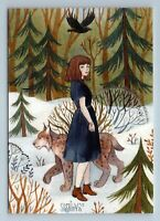 LITTLE GIRL with LYNX in Snow Winter Forest Walk by Speshilova New Postcard