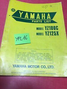 Yamaha YZ100C YZ125X YZ 100C 125X Catálogo Piezas Repuesto Piezas List 1975