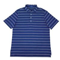 Stitch Golf Polo Shirt Men's Size L Blue Striped Short Sleeve Athletic Stretch