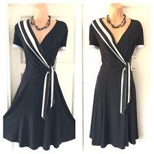 Gorgeous Joseph Ribkoff Black/white Stretchy Floaty New Dress Size 14