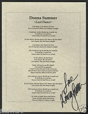 DONNA SUMMER Signed Lyrics 'Last Dance' - Pop Singer - reprint