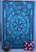 Indian Handmade Turquoise Astrology Zodiac Tapestry Wall Hanging Bedspread Throw
