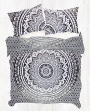 Black Grey Indian Hippie Mandala Queen Size Cotton Quilt Set Cotton Duvet Cover