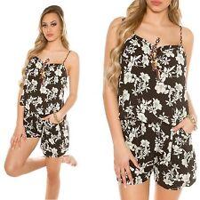 Damen Playsuit Jumpsuit Overall Blumenprint Einteiler Hosenanzug One Size NEU