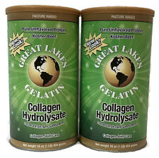 2 PACK Great Lakes Beef Gelatin Collagen Hydrolysate 16 oz Green Pure Protein