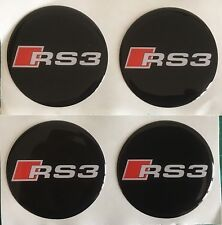 AUDI RS3 ALLOY WHEEL CENTRE CAP STICKERS DOMED RESIN 45mm X4