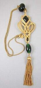 Anne Klein Couture by Robert Lee Morris Matte Gold Gripoix Glass Necklace
