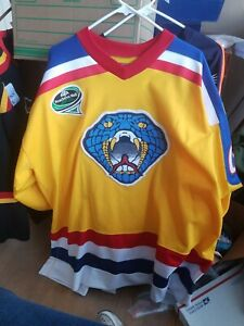 EUC Game Issue Pro Jersey Columbus Cottonmouths SZ 54 Yellow Fight Strap Great C