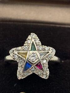 ANTIQUE 14K WHITE GOLD / DIAMOND ORDER OF EASTERN STAR LADIES MASONIC RING Sz6.5
