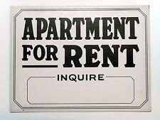 Vintage Apartment For Rent Inquire Unused Old Store Stock Sign, Not Reproduction