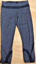 LULULEMON RUN INSPIRE CROP II PANTS Black Gray Herringbone size 6 Gym Yoga EUC
