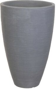 Large Ribbed Grey Planter Plant Pot 43cm Tall Indoor & Outdoor Planter