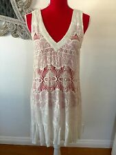 GYPSY 05 WHITE EMBROIDERED LACE DRESS COVER UP XS GORGEOUS