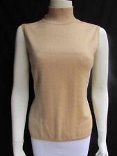 Bill Blass Women Beige Tan Cashmere Turtleneck Sleevless Casual Top Size Medium