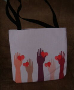 Colorful Hands & Hearts Polyester Beach Tote - Handbag - Purse - New Reversible