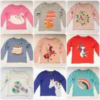 EX-MINI BODEN GIRLS CUTE APPLIQUE JERSEY HORSE-FLOWER- BIRD T-SHIRT AGES 2-14