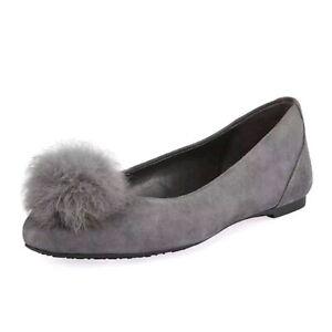MICHAEL Michael Kors Women's REMI BALLET Suede/Fur Flats CHARCOAL 9.5 M  NIB
