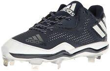 adidas Men PowerAlley 4 Baseball Cleats Collegiate Navy/White/Silver Metallic 10