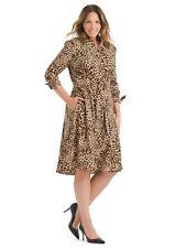 new CALVIN KLEIN tie waist shirt dress in leopard 14w 2020!