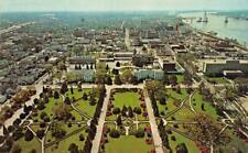 BATON ROUGE, LA Louisiana  BIRD'S EYE VIEW  City & Mississippi River  Postcard