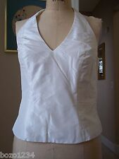 BN MARIA PINTO SZ 6 100% SILK IVORY HALTER TOP LINED SIDE ZIP LOVELY! RET$895.00