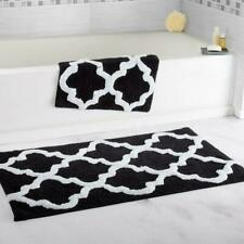Bedford Home 100% Cotton 2 Piece Trellis Bathroom Mat Set - Black