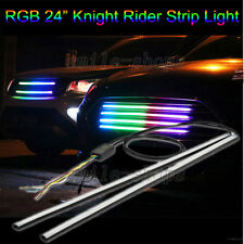 """2pcs 24"""" 7 Color RGB LED Strip Light Knight Rider Neon Grille Under Spoiler Hood"""