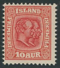 Iceland 1907 10a Kings Christian & Frederik Sc# 76 NH