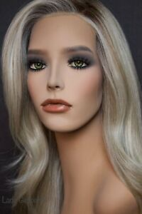 Realistic mannequin wig bust with GREEN glass eyes