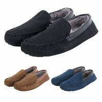 Mens Faux Suede Moccasin Slippers Footwear Warm Soft Lining Hard Non Slip Sole