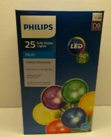 Philips 25ct Multicolor  LED Smooth G40 Globe String Christmas Lights Green Wire