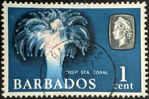 Stamp Barbados SG342 1965 1c Marine Life - Deep Sea Coral Used