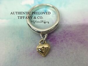 Vintage Authentic Tiffany & Co. Yellow Gold Keyhole Heart Charm Silver Ring #7.5