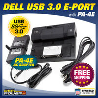 Dell E-Port USB 3.0 Docking Station Replicator PR03X with PA-4E AC Power Adapter