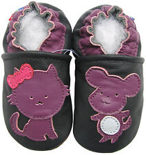 carozoo mouse cat black 0-6m soft sole leather infant baby shoes