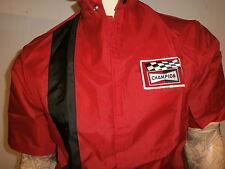 vtg CHAMPION SPARK PLUG NYLON JACKET Mod Red Racing Stripe Pit Crew Logo Patch