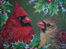 ACEO Cardinals birds wildlife Winter print of painting