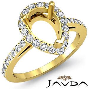 Diamond Engagement Filigree Ring Pear Semi Mount 18k Yellow Gold Halo Pave 0.45C